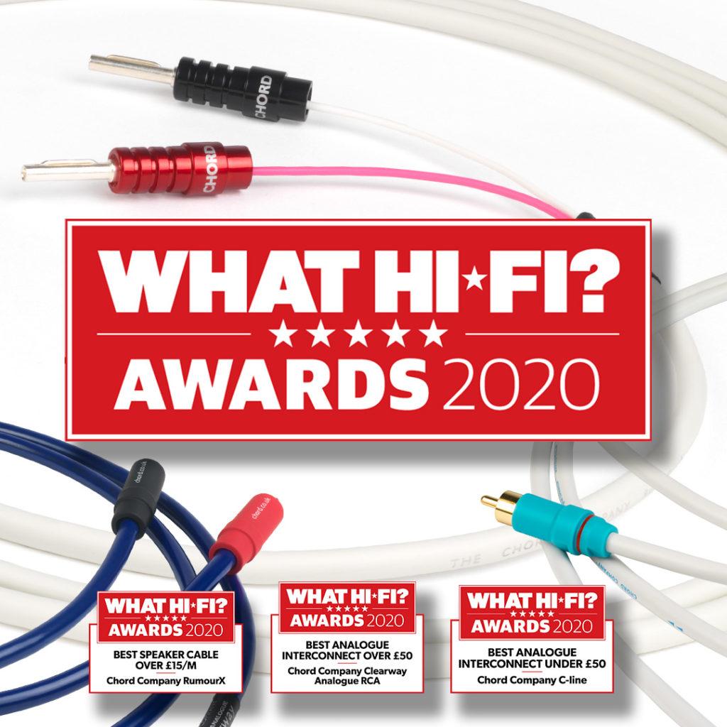 Cabos Chord os melhores de 2020 pela revista What Hi-fi?